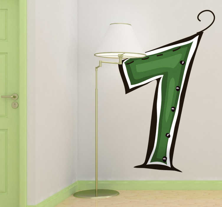 TenStickers. Number 1 Sticker. Decorative sticker of number 1 in green. Creative decal from our number wall stickers set to decorate your child's room make it stand out.