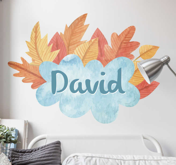 TenStickers. Customisable Autumnal Sticker. This seasonal design features the name of your choice surrounded by golden orange autumn leaves. Ideal for hallways, living rooms and bedrooms