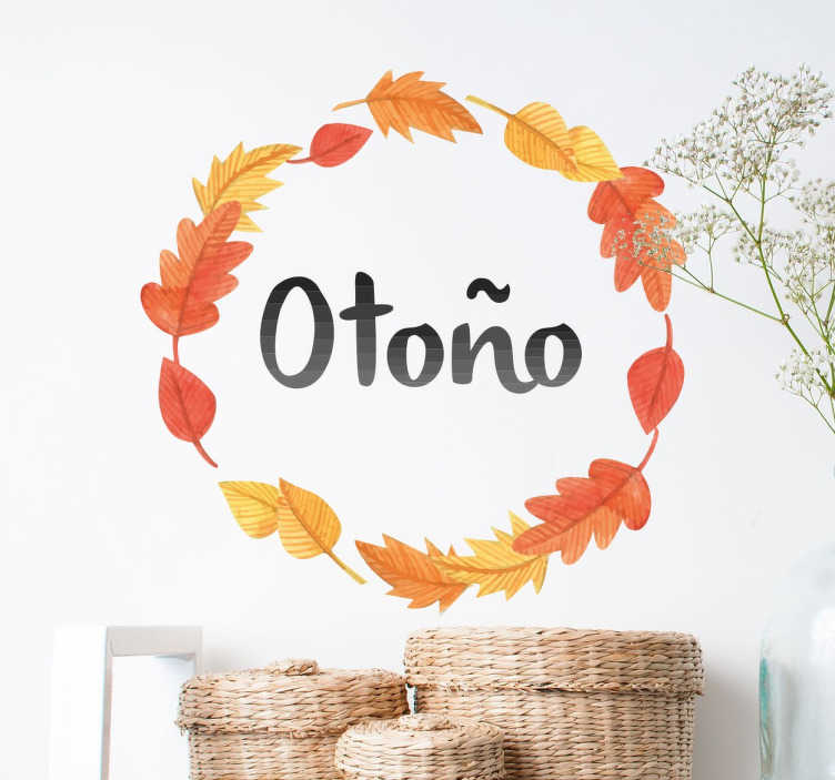 Vinilo decorativo corona otoño