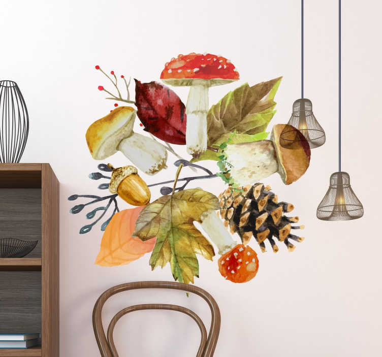 TenStickers. Mushroom, Pine Cone Autumn Leaves. The Wall sticker consists of different autumn elements such as leaves, mushrooms, an acorn and a pine cone.