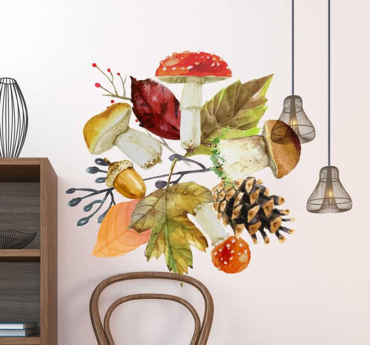 TenStickers. Adesivo decorativo elementos Outono. Adesivo decorativoperfeito para decorar a tua casa neste Outono, pensado também para o teu estabelecimento ou negócio.