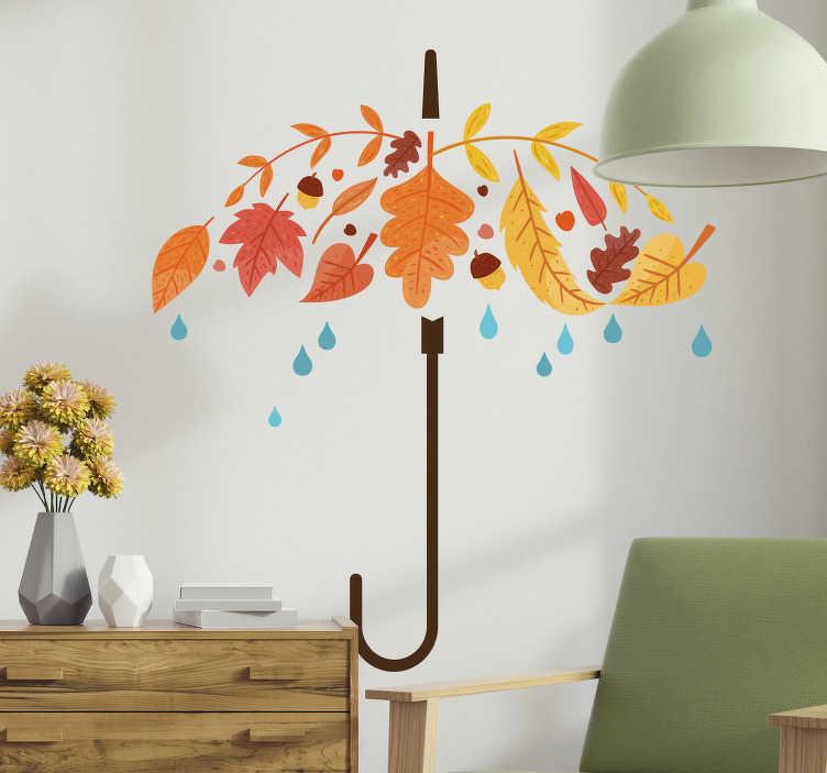 TENSTICKERS. 秋の傘の壁のステッカー. 壁のステッカーは、秋の葉でできた傘でできています。雨の中に雨が降っています。このステッカーは秋の色で装飾され、あなたの家に遊び心と現代的な雰囲気をもたらします。