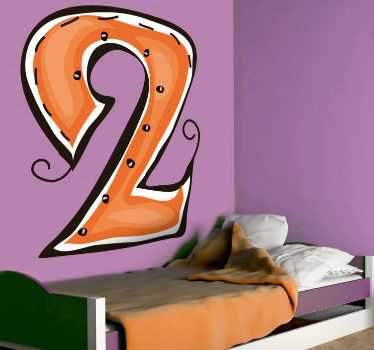 TenStickers. Naklejka cyfra 2. Naklejka na ścianę z kolekcji kolorowe cyfry. Obrazek przedstawia cyfrę 2 w odcieniach pomarańczowego. Stwórz oryginalną atmosferę w pokoju dziecięcym.