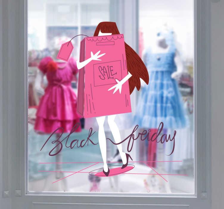 TenStickers. Naklejka Dziewczyna z zakupami Black Friday. Naklejka na witrynę sklepową przedstawiająca napis Black Friday i dziewczynę robiącą zakupy.