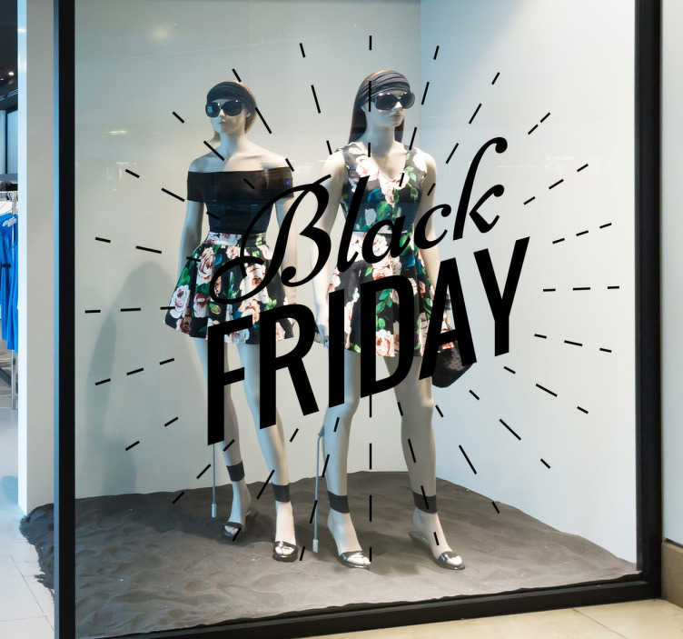 TenStickers. Eye Catching Black Friday Window Sticker. The window sticker consists of 'Black Friday' written in different fonts and is decorated with outward rays.