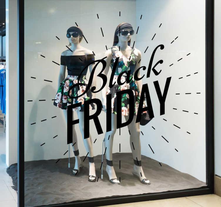 Tenstickers. Iøynefallende svart fredag butikk klistremerke. Svart fredagskilt klistremerker - et klistremerke på butikkvinduet for å fortelle kundene at du deltar i svart fredag!