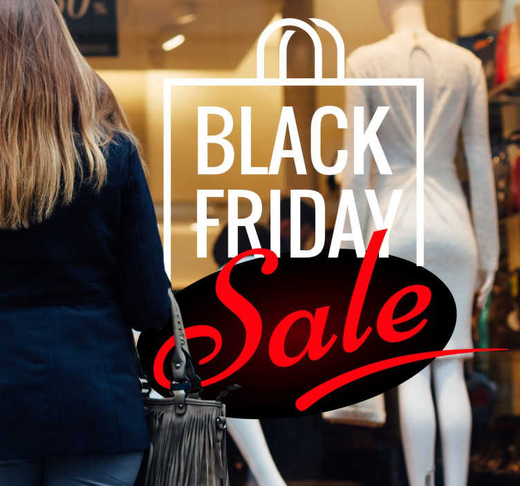 TenStickers. Schaufensteraufkleber Black Friday Sale. Sagen Sie mit diesem trendigen Schaufensteraufkleber Ihren Kunden, dass Sie am Black Friday teilnehmen!