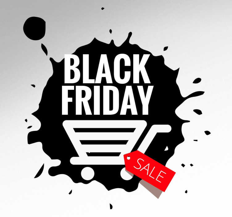 TenStickers. Muursticker Black Friday Splash. Deze Muur sticker knalt Black Friday op je winkel ruit, denk je Black Friday dan denk je winkelwagens en SALE!