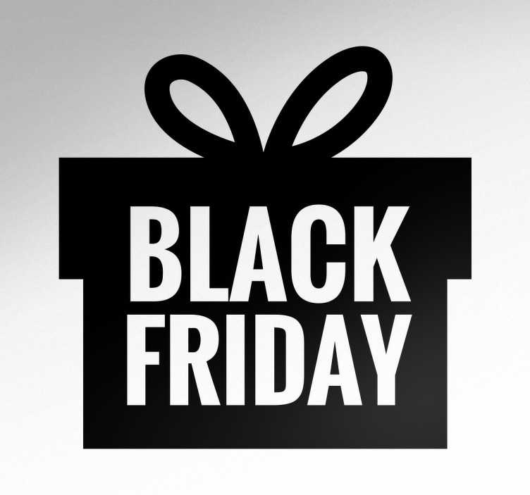 TenStickers. BLACK FRIDAY gave sticker. Promover den kommende Black Friday, med denne BLACK FRIDAY sticker udformet som en gave.