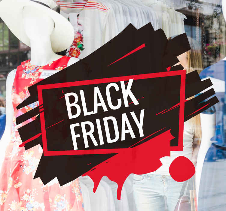 TenStickers. Dramatiske Black Friday sticker. Det er tid til Black Friday! Dekorer dine butiksvinduer med denne dramatiske Black Friday sticker i sort og rød.