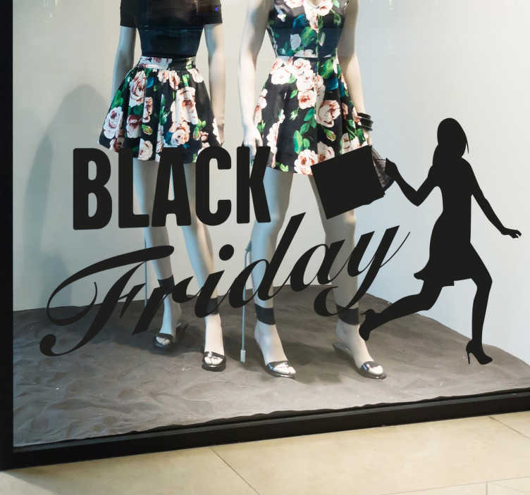 TenStickers. Black Friday Shopping Window Sticker. The window sticker consists of the lettering 'Black Friday' and a female shopper carrying her bags
