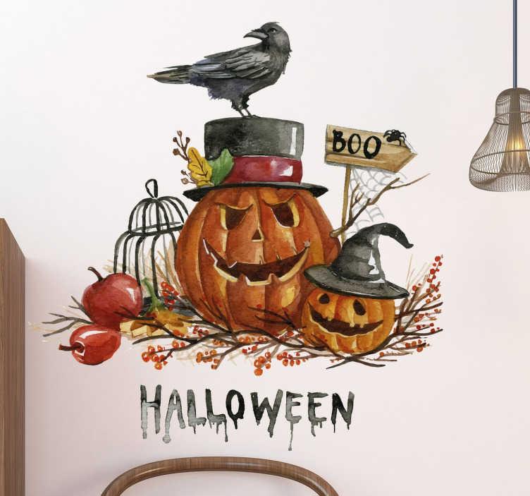 TenStickers. Vinil decorativo abóboras assustadoras. Adesivo vinilico de decoração alusivo ao Halloween original e assustador para a tua casa, local de festas ou negócio. Fácil de aplicar.