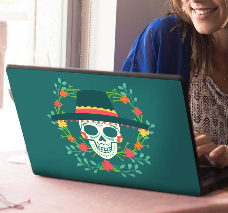 TenStickers. Day of the Dead Laptop Sticker. If you're looking for a fun and unique way to decorate your computer, look no further than this Day of The Dead Mexican laptop sticker!