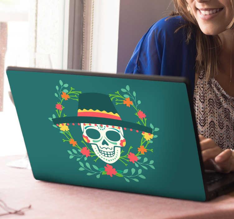 TenStickers. Laptopsticker Dag van de Doden. Met deze laptop sticker maak je jouw laptop/notebook klaar voor de viering van de dag van de doden. Express verzending 24/48u.
