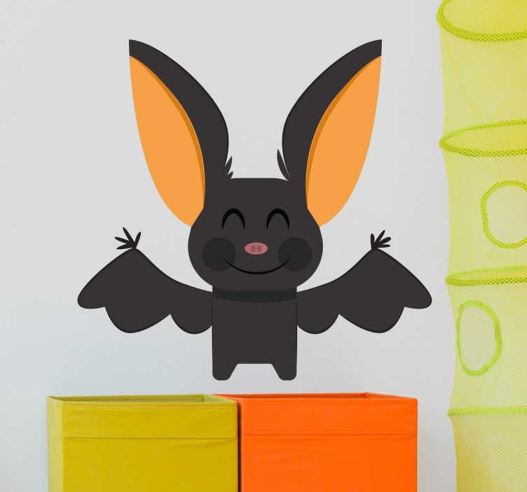 TenStickers. Vinil decorativo infantil. Papel de parede para quarto de crianças com uma divertida ilustração de um morcego. Stickers ideais para decorar o quarto dos seus filhos.