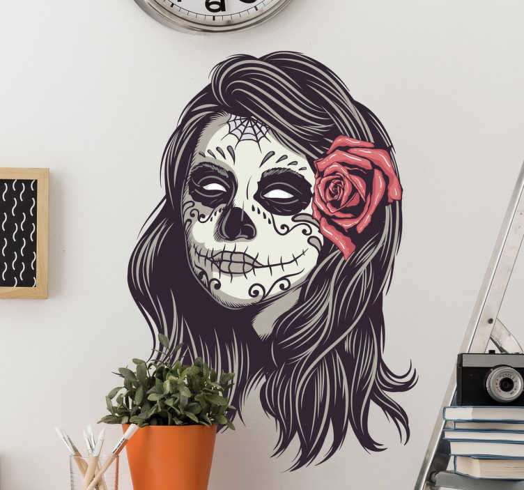 TenStickers. Day of the Dead Girl Portrait Sticker. If you love Mexican culture and especially the Day of the Dead festival, then this is the perfect decorative wall sticker for your home!