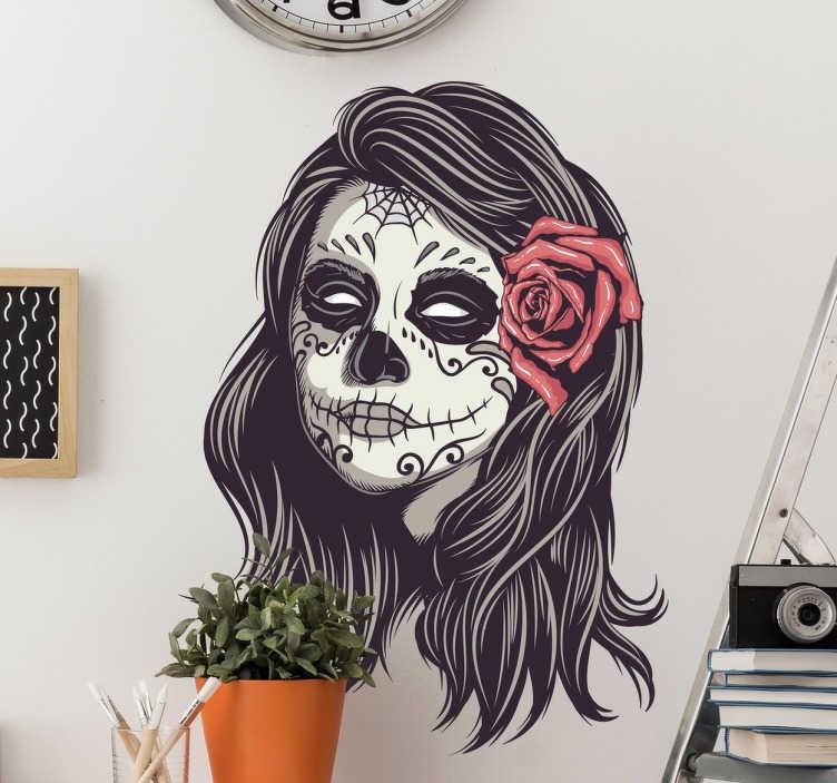 TenStickers. Dekoracja ścienna kobieta czaszka meksykańska. Dekoracja ścienna przedstawiająca czaszkę dziewczyny w stylu meksykańskim.