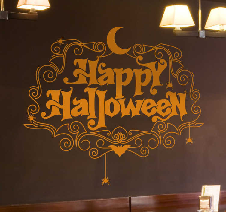 TenStickers. Happy Halloween halloween wall decal. Decorative happy Halloween wall sticker to decorate any space to celebrate Halloween festival. It is available in any size.