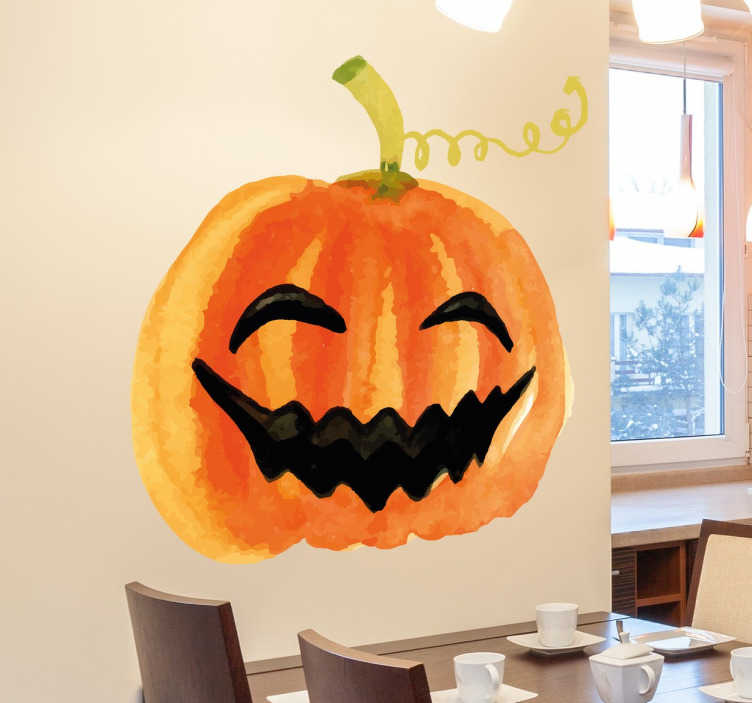 TenStickers. Smiling Pumpkin Halloween Wall Sticker. If you're looking for the perfect temporary wall decoration this Halloween, look no further than this smiling pumpkin wall sticker!