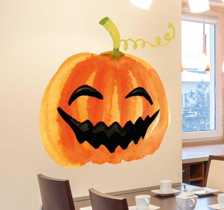 TenVinilo. Vinilos Halloween calabaza sonriendo. Pegatinas Halloween con la ilustración de una típica calavera terrorífica.