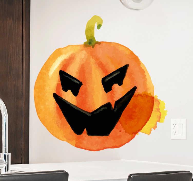 TenStickers. Autocolante Abóbora Halloween Aguarela. Vinil decorativo Halloween com a imagem assustadora de uma abóbora em aguarela.