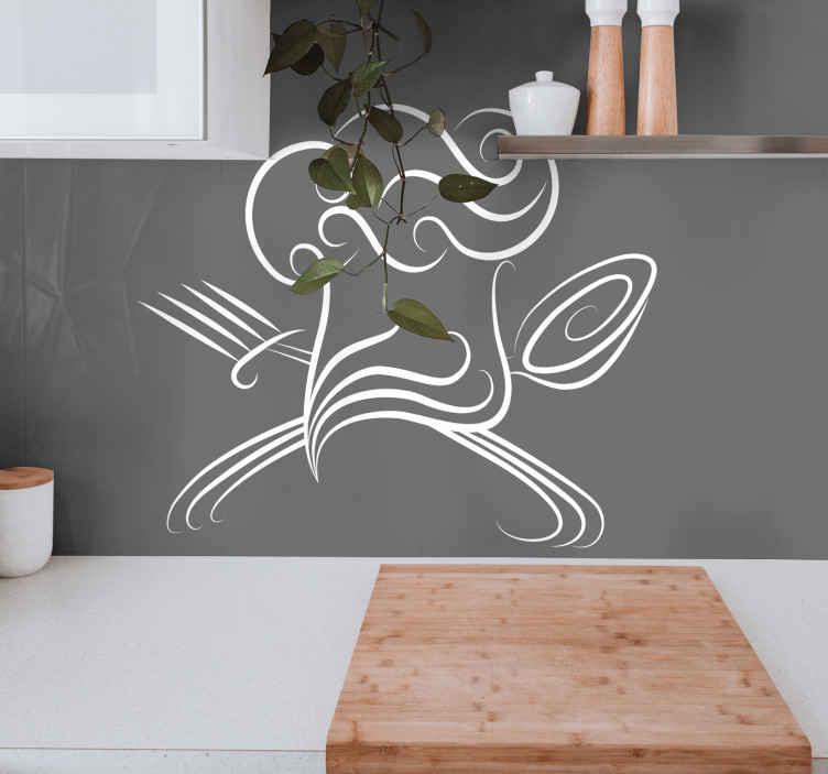 Tenstickers. Kokin Hattu Sisustustarra. Keittiö sisustustarra, joka luo keittiöön tai ruokailutilaan miellyttävän tunnelman. Koristetarra kokin hatusta ja keittiövälineistä.