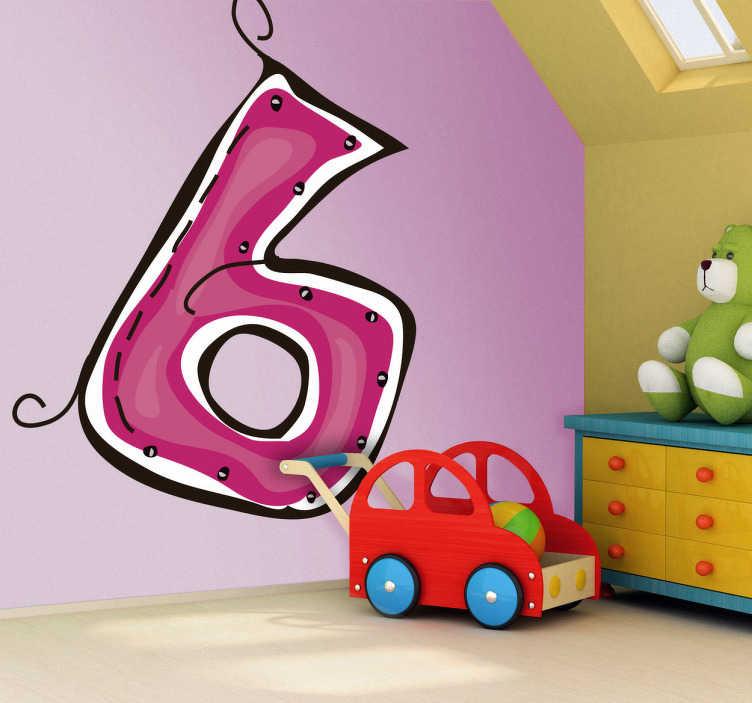 TenStickers. Vinil decorativo ilustração número 6. Vinil decorativo com números. Adesivo de parede com ilustração do número 6 em cor rosa. Necessita um sticker com um número específico?