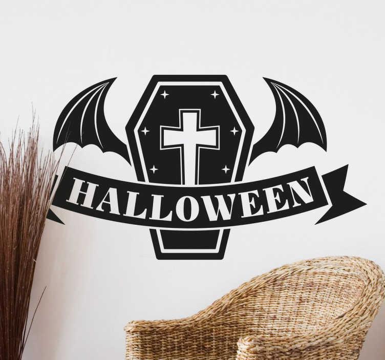 TenStickers. Naklejka Halloween trumna. Dekoracja halloweenowa, z którą poczujesz atmosferę święta pochodzącego z Amerykii.