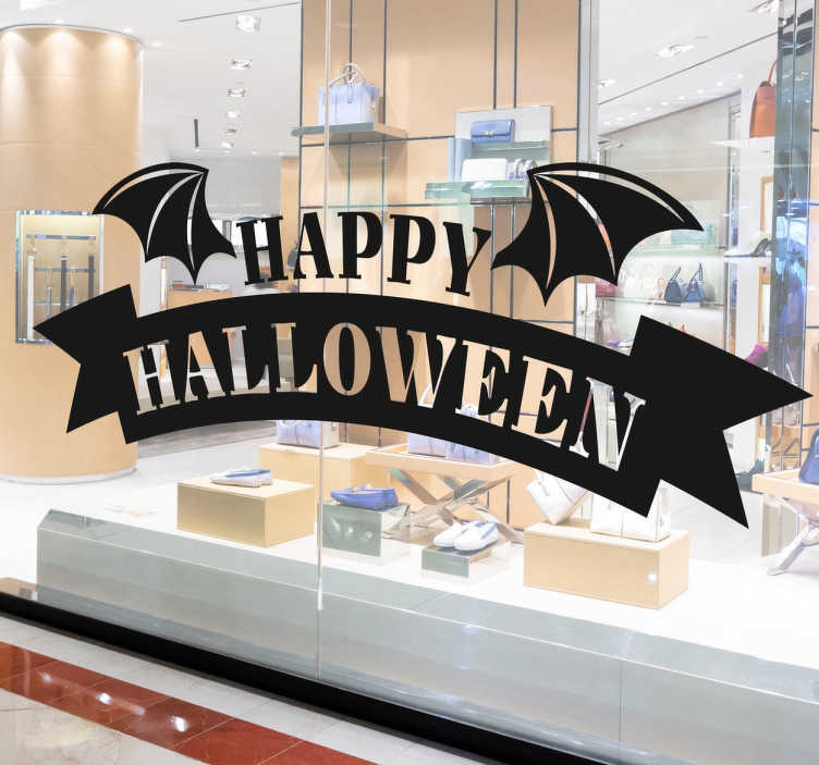 TenStickers. Happy Halloween Bat halloween sticker. Happy Halloween Letter in sticker for your window shop. Zero residue upon removal.