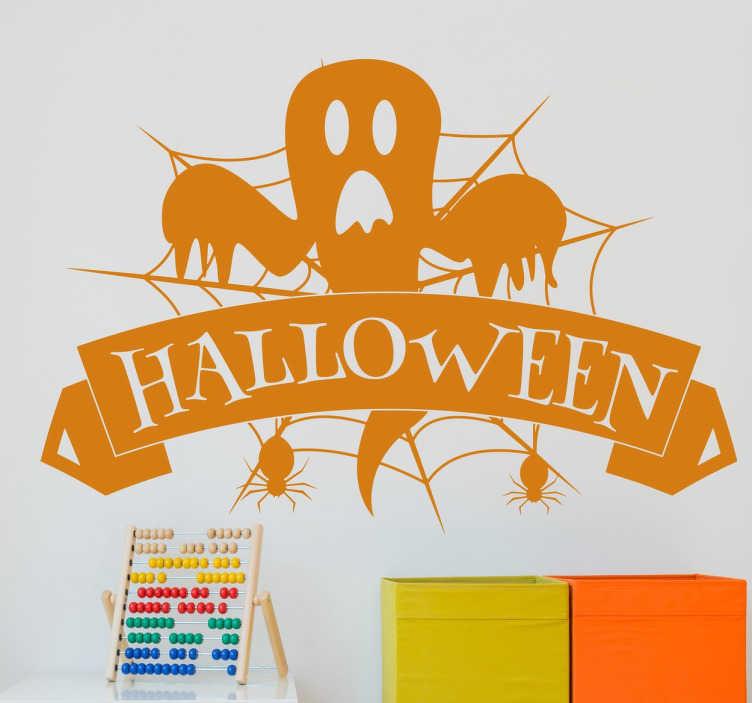 TenStickers. Muursticker Halloween Geest. Muursticker Halloween spook met spinnenweb en spinnen. Wilt u uw huis Halloween klaar maken? Deze wanddecoratie zorgt voor griezeligheid.