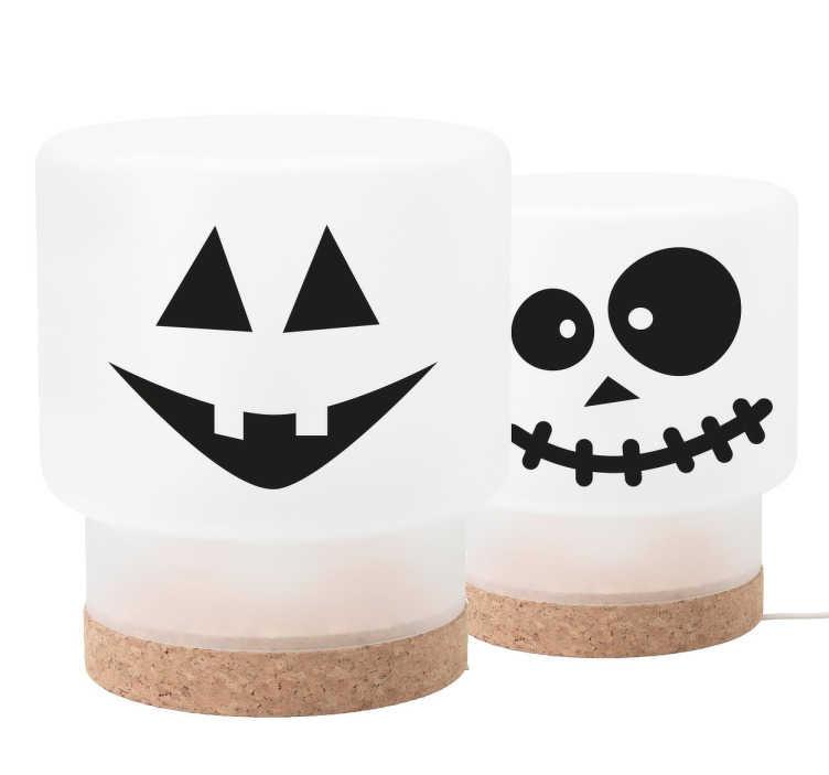 TenStickers. Stickers Halloween Gezichtjes. Sticker met drie verschillende gezichtjes ter versiering voor Halloween. Kleur en afmetingen naar eigen wens aanpasbaar. Dagelijkse kortingen.
