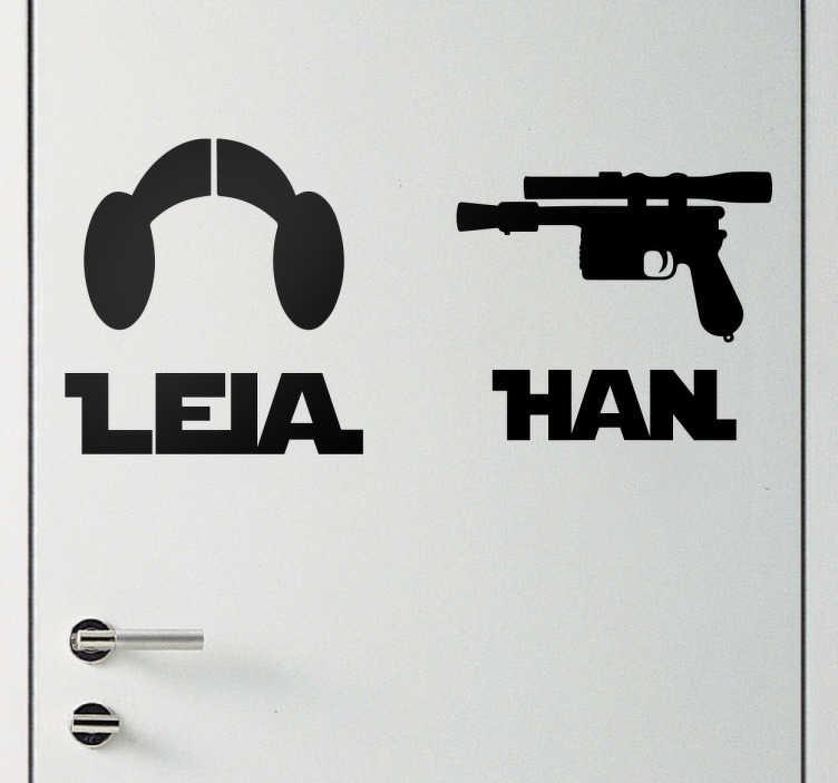 TenStickers. Muursticker Leia en Han. Muursticker van Leia en Han, een van de meest iconische stellen in film geschiedenis. Perfect voor stellen die fan zijn van Star Wars.