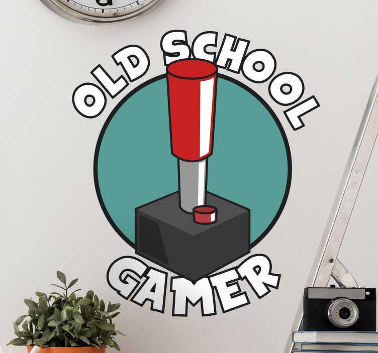 TenStickers. Naklejka Old School Gamer. Dekoracja ścienna prezentująca napis w języku angielskim 'Old School Gamer' wraz z konsolą.