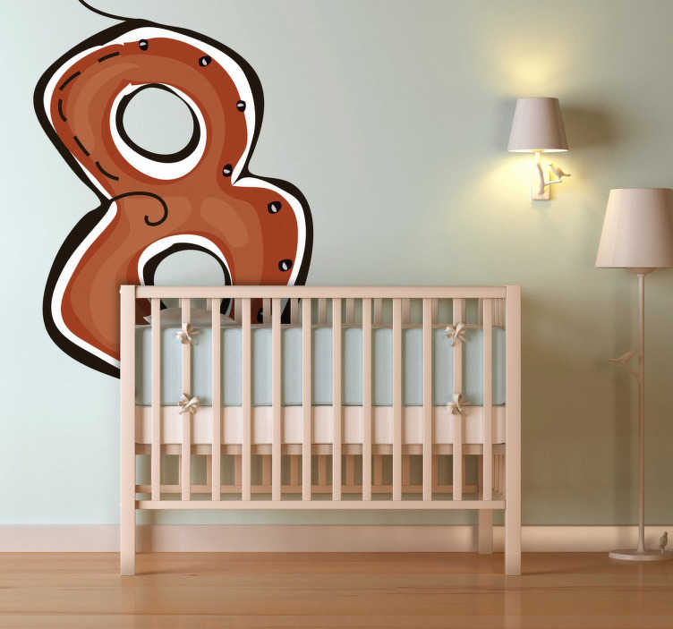 TenStickers. Number 8 Sticker. Decorative sticker of number 8 in brown. Amazing decoration from our collection of number wall stickers for your child´s room.