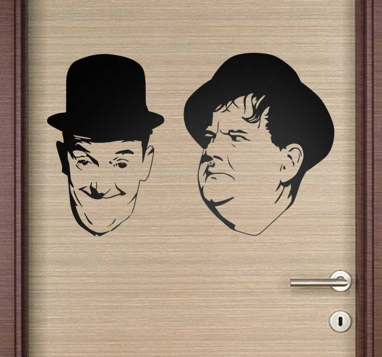 TenStickers. Laurel and Hardy Decorative Wall Sticker. This decorative wall sticker features the silhouettes of the famous american silent movie kings Laurel and Hardy.