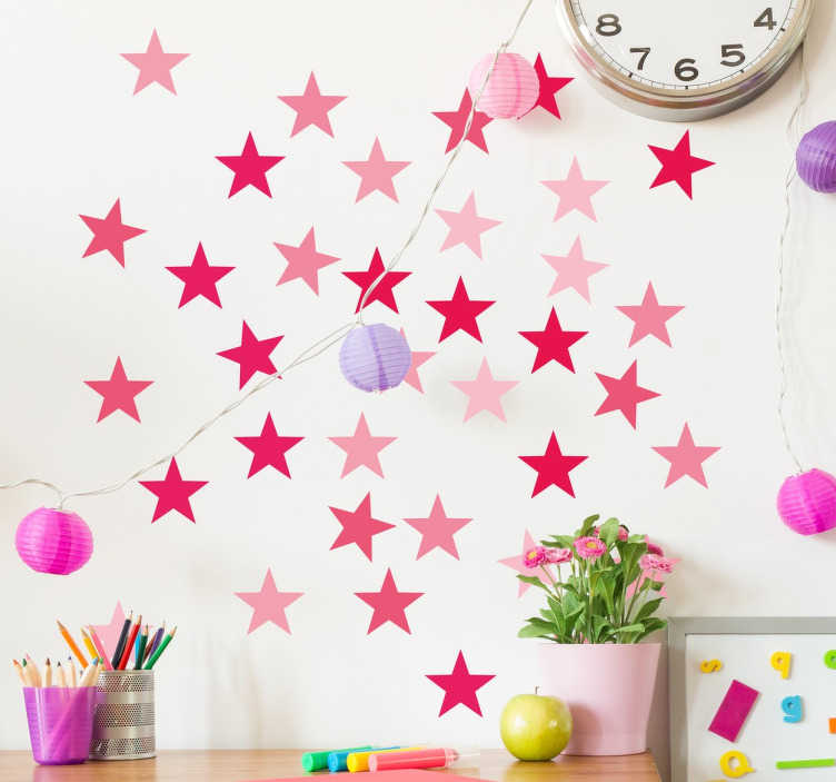 TenStickers. Pink Star Wall Stickers. The ideal way to brighten up any dull wall, these decorative wall stickers are the ideal way to inject colour into your life! Suitable for application on any hard smooth surface, including outdoors!