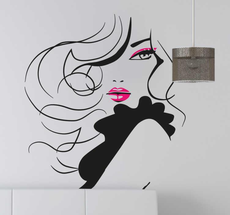 TenStickers. Naklejka ścienna zmysłowa kobieta. Naklejka ścienna prezentująca stylową dekorację,która pięknie ozdobi każdy salon piękności. Sprawdź naklejki erotyczne. Wysyłka w 24/48h!