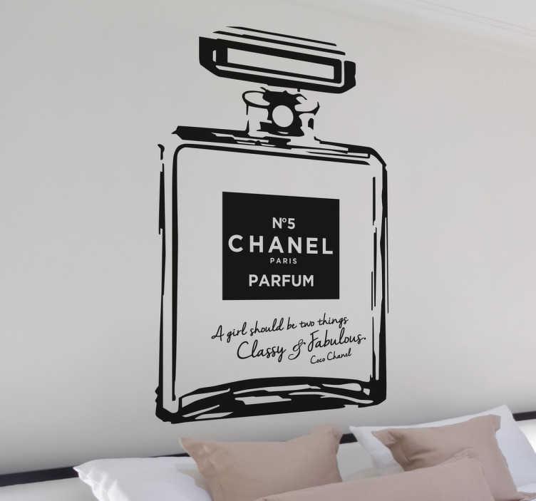 TenStickers. Channel nummer 5 parfum muursticker. Houdt u van de geur van de meeste bekende parfum van Chanel, nummer 5? Plak deze muursticker dan op in huis.