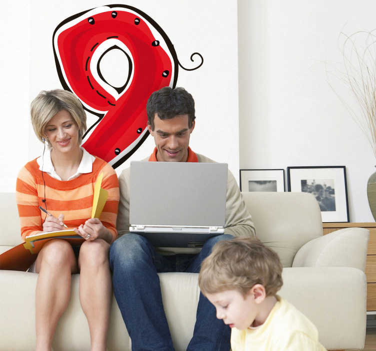 TenStickers. Sticker enfant dessin numero 9. Stickers enfant dessin numéro 9 de couleur rouge pour la décoration de la chambre d'enfant ou pour la personnalisation d'affaires personnelles.