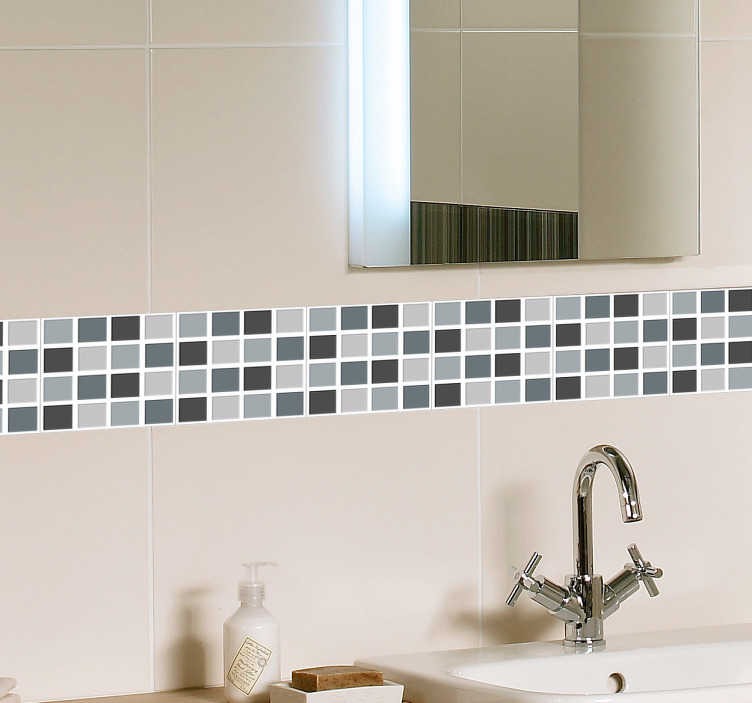 TenStickers. Grey Tones Square Tiles Border Sticker. Bathroom or kitchen tiles border sticker with cold blue tones perfect for adding a personal touch to the most important parts of your home.