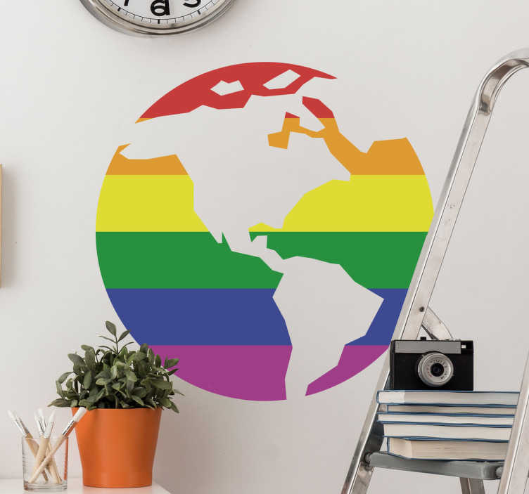 TenStickers. sticker gay pride monde. sticker carte su monde avec drapeau gay pride applicable sur toutes surfaces.