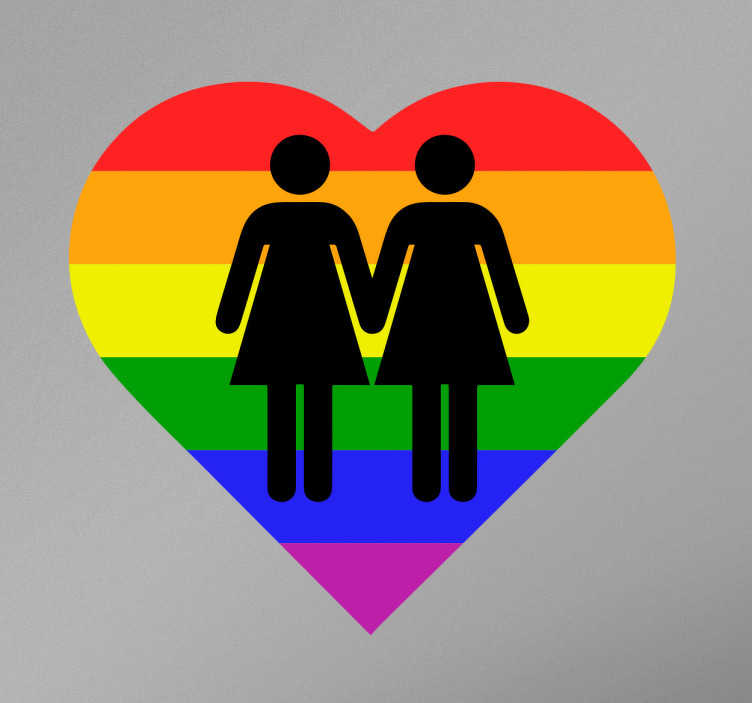 TenVinilo. Vinilo decorativo corazón lesbianas. Vinilos de temática gay con la representación de una pareja de chicas sobre un corazón coloreado con un arco iris.