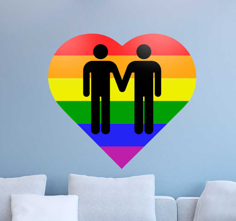 TenVinilo. Vinilo decorativo corazón gays. Vinilos decoración gays con la representación de una pareja de chicos sobre un corazón con los colores del arco iris.