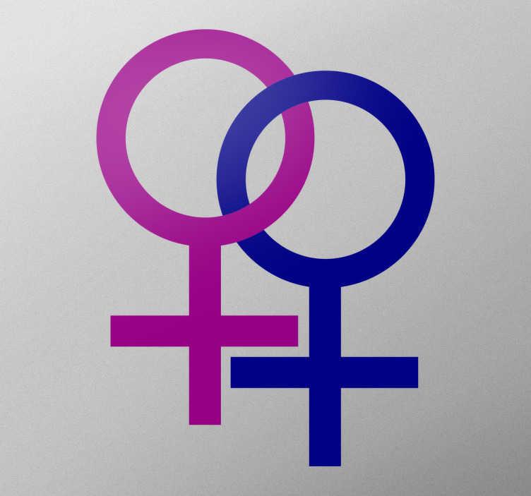 TenStickers. Muurstickers Gender Symbolen Lesbische Relatie. Muursticker met twee verbonden venus symbolen die een lesbische relatie symboliseren. Afmetingen aanpasbaar. Ook voor ramen en auto's.