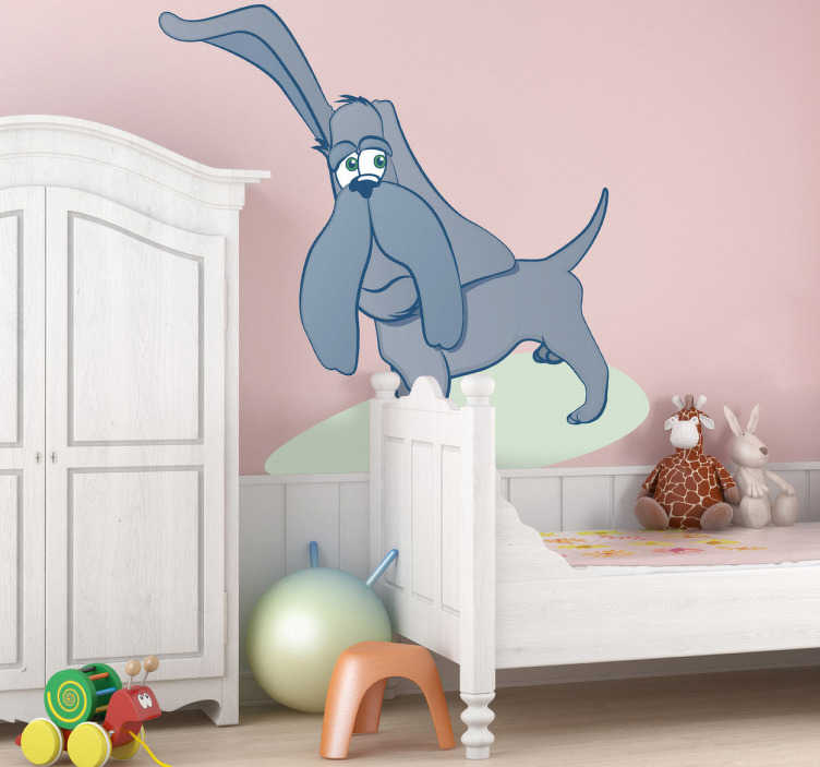 TenStickers. Listening Dog Wall Sticker. Kids Wall Stickers-Playful illustration of a dog with long and big ears. Cheerful design idea for decorating your childs bedroom.