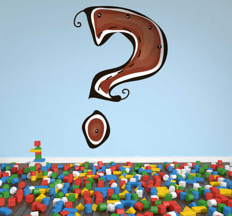 TenStickers. Vinilo infantil dibujo símbolo interrogante. Vinil decorativo com o símbolo de pergunta em cor castanha. Adesivo de parede com ponto de interrogação para qualquer divisão.