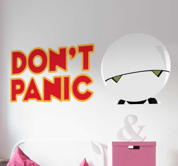 TenStickers. Naklejka ścienna Don't panic. Naklejka dekoracyjna prezentująca białego robota z napisem '' Don't panic''.