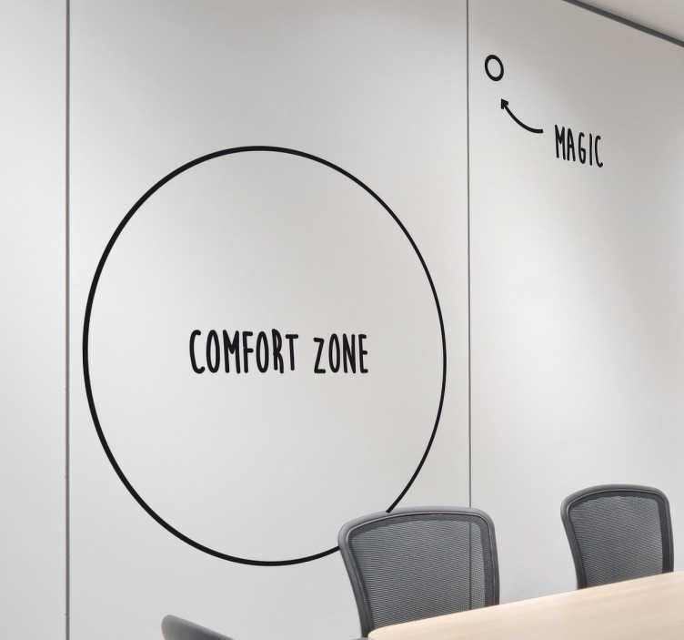 TenStickers. Comfort Zone Motivational Wall Sticker. Get out of your comfort zone wall decal that inspires and motivates people towards success. Part of our wall stickers for office collection.