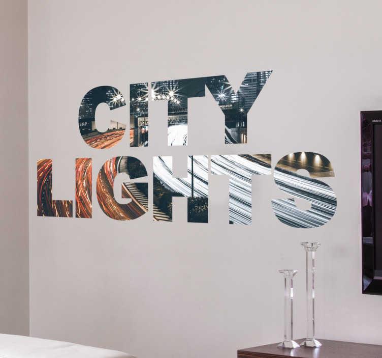 TenStickers. Muursticker City Lights. Muursticker City Lights. Door de sticker zie je een gefilmde snelweg zo versneld dat het lijkt alsof de voor en achter lampen van autos samenvoegen.