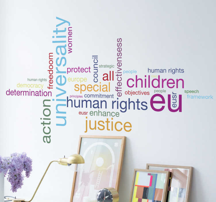 TenStickers. Human Rights Wall Sticker. This wall sticker reminds us of the universal rights of every human.
